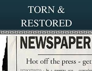 Torn and Restored Newspaper