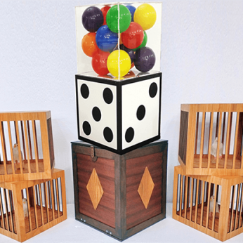 Transformation of Dice to Crystal Cube then to 4 Cages (Wooden) by Tora Magic