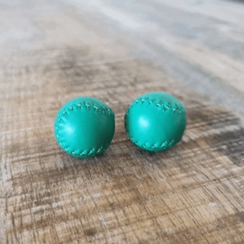 Chop Cup Balls Green Leather (Set of 2) by Leo Smetsers