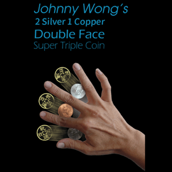 2 Silver 1 Copper Double Face Super Triple Coin (with DVD) by Johnny Wong